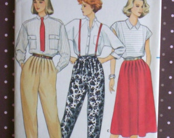 Vintage 1980s Sewing Pattern - Butterick 3343 - Misses' Pants And Skirt (Size 14-16-18) - Sewing Supplies