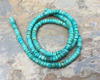 Turquoise Disk Beads, Natural Turquoise Beads, 4mm Turquoise Beads, 16 inch strand
