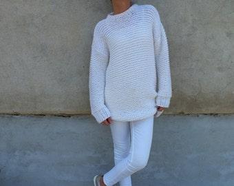 Ivory white sweater/ wool sweater/ handknit sweater/ Dress Sweater/ Sweater dress