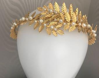 Gold leaf tiara , Gold leaf headband - Leaf halo headband - Bridal tiara , Leaf tiara , Leaf headpiece , Gold leaf headband ,