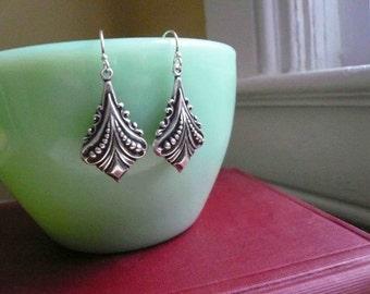 Silver art deco earrings Antiqued silver dangles Sterling silver earwire Vintage style Art nouveau dangles Feminine earrings Affordable gift