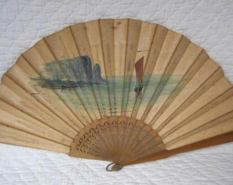 Sandalwood Chinese fan painting on silk. Early 20th century.