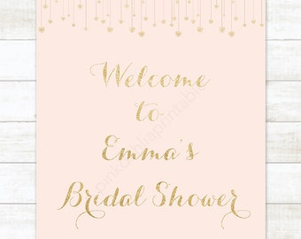 bridal shower welcome sign, pink gold glitter heart bridal shower sign, digital sign customizable
