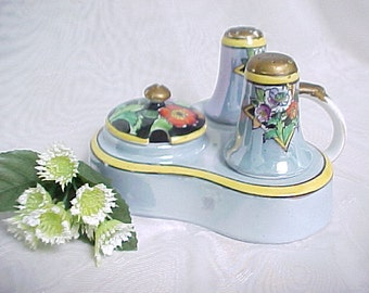 1920s Noritake Lusterware Condiment Set, Vintage Hand Painted Serving Set Made in Japan, Mustard Pot with Salt & Pepper in Serving Tray