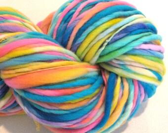 Bulky Handspun Yarn Interplanet Janet 135 yards hand dyed wool blue pink yellow yarn waldorf doll hair knitting supplies crochet supplies
