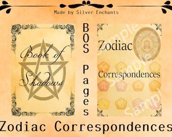 BOS Pages - Zodiac Correspondences