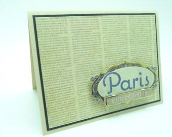 Thank You Card French Thank You Card Parisian Card Merci Card Handmade Paper Greeting Card Fancy Greeting Card Classy Thank You Card