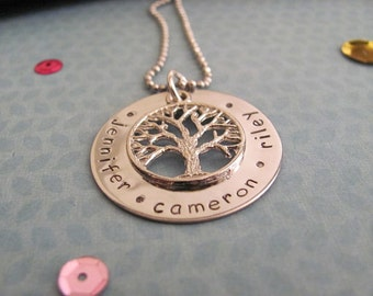 Around the Family Tree Necklace, Handstamped Jewellery, Personalised Necklace, Mother's Day Gift, Australian Seller