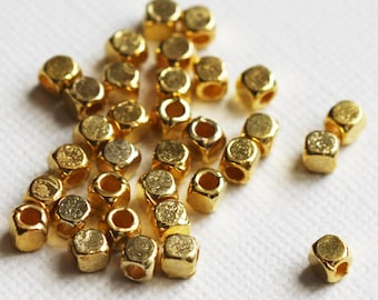 100 pcs of gold plated square cube beads 4mm, bulk