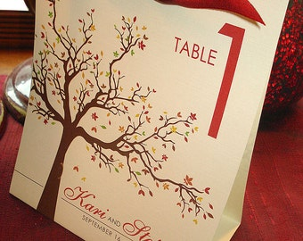 Autumn Love Birds Tree and Leaves Stand Alone Table Number Tents - Sample