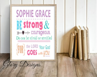 Printable, Personalized wall art, girl printable, teen girl, Scripture Printable, Bible Verse, Scripture Art, Deuteronomy 31:6, Be strong