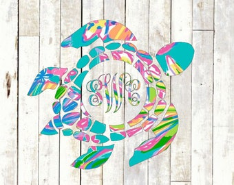 Sea Turtle Monogram Vinyl Decal - Nautical Tropical Printed Southern Lilly Pulitzer Preppy