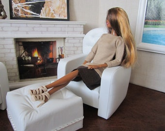 Designer Quality White Faux Leather BARBIE Set of 3. The best and beautiful gift for your Doll !!!