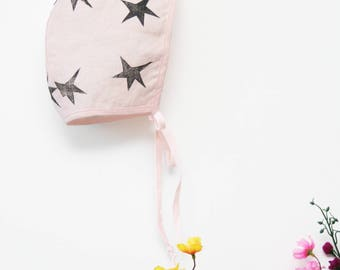 baby bonnet - linen baby bonnet - handmade bonnet - baby gift - made to order - hand stamped
