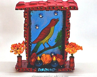 Mexican Nicho, Loteria Card, Day of the Dead, Mexican Folk Art, Wood Nicho, Bird Picture, Mexican Kitsch, Loteria Decoration, Mexican Decor