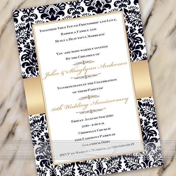 50th wedding anniversary invitation, 60th wedding anniversary, golden anniversary invitation, anniversary party invitation, IN494