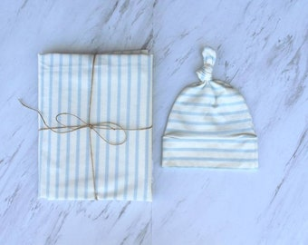 Striped blue jersey swaddle set Receiving blanket Gift for new baby American baby swaddle Swaddler  Baby boy swaddle set