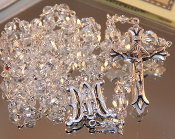 Catholic Swarovski Clear Crystal Rosary Beads