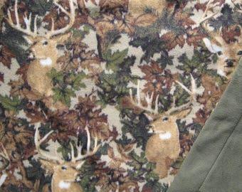 Hunters Camouflage And Buck Print Fleece With Ultra Plush Khaki Fleece On Reverse Blanket Or Throw