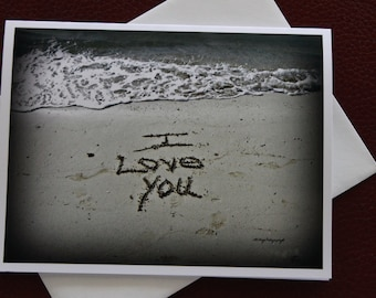 I Love You Card / Free US Shipping / Writing In The Sand / Sand Art