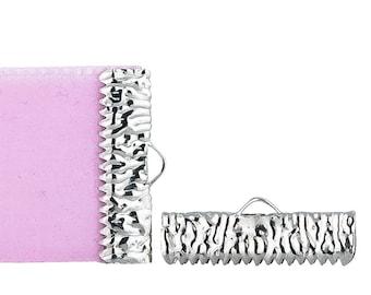 22mm (7/8 inch)  Platinum Silver Ribbon Clamp End Crimps - Artisan Series - 16 pieces