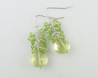 Lemon Quartz & Peridot Dangle Earrings - Sterling Silver, Gemstone Beads - Ready to Ship