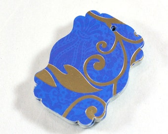 Royal Blue and Gold Foil Fancy Rectangle Gift or Retail Tags / set of 36 / Glossy Cardstock Gift Tags - Party Favor Wedding Ideas