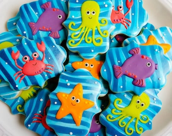 One dozen (12) cute Ocean Creatures Sugar Cookies