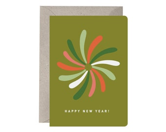 Festive Card – Happy New Year. Illustration. Fireworks. Celebration Card. Non Religious Festive Card. Red and Green. Quirky Festive Card.