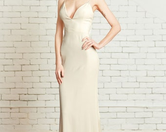 "Lumi Slipdress: Plunging V Neck, Stretch Silk Dress, Low back, Spaghetti Straps, Minimal Modern Chic, the ""Lumi"" CUT TO ORDER"