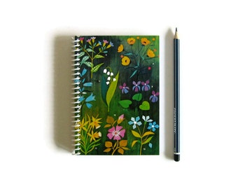 Forest Flowers Notebook A6 Spiral Bound - Back to School, Writing Pocket Journal, Diary, Small Notebook, Blank Sketchbook, Gifts Under 20