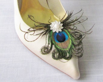 Peacock Feather And Rhinestone Shoe Clips 8 Different Center To Choose From