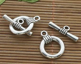 25sets dark silver tone toggle clasp h3516