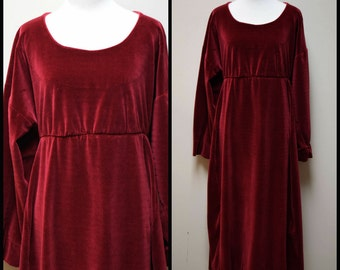 ALICE BERRY Chicago Berry Red Burgundy Velour Lounge Lagenlook Dress Size O/S