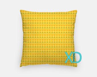 Golden Dot Pillow, Goldenrod Pillow Cover, Dandelion Pillow Case, Yellow Pillow, Artistic Design, Home Decor, Decorative Pillow Case, Sham