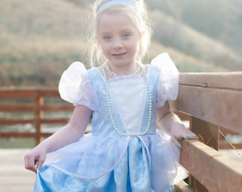Beautiful Boutique Deluxe Cinderella Ballgown Costume princess, pretend play, party dress, birthday, halloween, blue, white, bustles, NEW