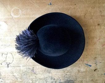 Vintage Black Ladies Hat, Frank Olive Hat, Wool Felt Hat, Mounring Hat, Black Ladies Fedora, Wool and Feather Hat, Ostrich Plume Hat