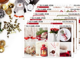 Red Christmas Planner Kit, Christmas Weekly Kit, Winter planner stickers, Holidays Planner Kit, for use with Erin Condren