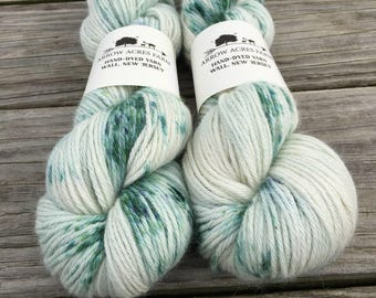 Hand Dyed 100% Alpaca Yarn - Summit - Natural White/cream with Green Speckles