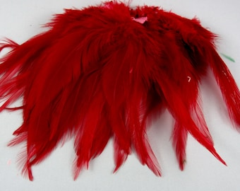 Red  Feathers Strung Saddle Premium PSD-04  6 inches craft feathers fly tying