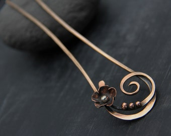 Mixed metal hair fork, hair pin, hair stick, bronze, sterling silver and copper hair pin, flower and scroll, floral, elegant, metal