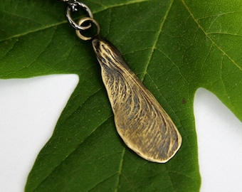 SALE - Maple Key Necklace Bronze Maple Seed Necklace The Key to the Forest 019