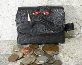 Coin Purse Zippered Change Purse Black Leather Monster Face Pouch Key Ring 240