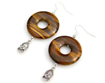 Buddha Charm Earrings Tigers Eye Statement Earrings Zen Asian Flair Gold Gemstone Indian Buddhism Ancient Belief Spiritual Faith Mei Faith