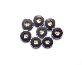 8 Purple Buttons, Beige & Plum Vintage Buttons