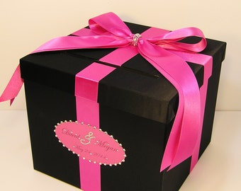 Wedding Card Box Black and Hot/Shocking  pink Gift Card Box Money Box Holder--Customize your color (10x10x9)