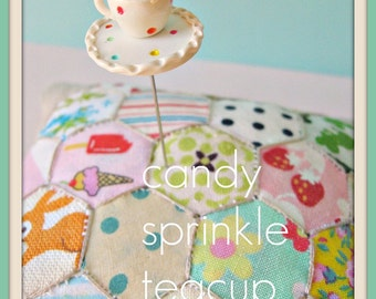 Candy Sprinkle Teacup Coffee Cup Pin Topper