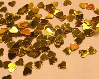 Tiny gold color heart confetti , 3 mm (37)C