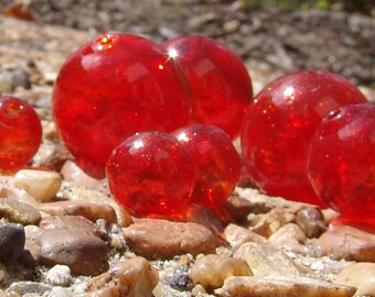 Hollow Blown Glass Beads 14mm red (6)