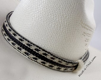 Horsehair hat band, DRAMATIC, Cowboy horsehair hat band, No tassel, BOLD White-Black, WIDE style, horsehair hat band, Western hat band